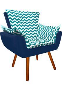 Poltrona Decorativa Opala Suede Composê Estampado Zig Zag Verde D78 E Suede Azul Marinho - D'Rossi.