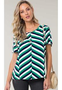 Blusa Tecido Estampada Verde