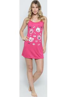 Camisola Com Cachorrinhos- Pink & Branca- Zulaizulai