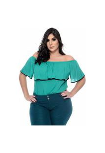 Blusa Feminina Mac-Lu Ciganinha Linha Premium Verde Agatha