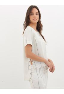Camiseta Le Lis Blanc Fernanda Eyelets 2 Listrado Feminina