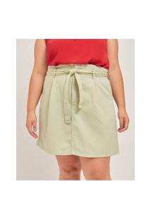 Saia Evasê Lisa Em Sarja Com Amarração Curve & Plus Size | Ashua Curve E Plus Size | Verde | 48