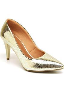 Scarpin Ellas Online Salto Metalizado Médio - Feminino-Dourado