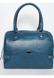 Bolsa Com Recortes Em Couro- Azul Escuro & Dourada- Di Marlys