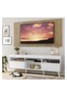 "Rack Com Painel Tv 65"" Londres Multimóveis Pés Retrô E 2 Portas Branco/Rustic/Branco"