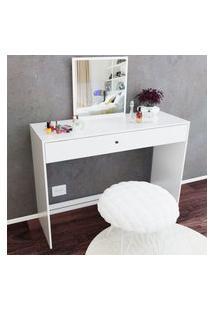 Penteadeira Com Espelho Embutido E Gaveta Branca Lilies