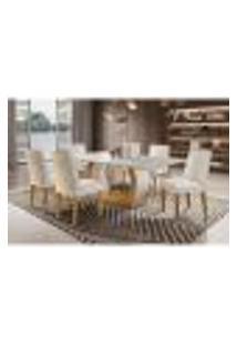 Conjunto De Mesa De Jantar Com 6 Cadeiras Estofadas Maia I Veludo Off White E Creme