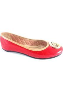 Sapatilha Nkb Matelassê Confort - Feminino-Vermelho