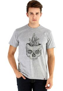 Camiseta Ouroboros Manga Curta Caveira Cristal - Masculino-Cinza