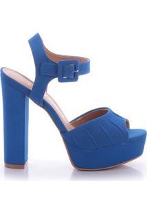 Sandália Di Valentini Monica Nobuck Feminina - Feminino-Azul
