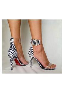 Sandália Estilo Elxs Salto Fino Pelo Zebra E Vinil E Sola Vermelha