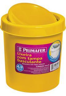 Lixeira Redonda Com Tampa Basculante 4,3 Litros Amarela