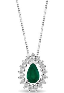 Pingente Gota Ouro Branco Esmeralda E Diamantes 10 Mm