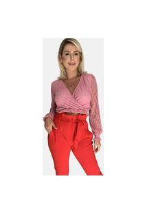 Blusa Fav Transpassada Tule Rosé