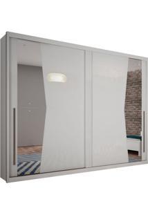 Guarda-Roupa Casal Com Espelho Geom 2 Pt Branco