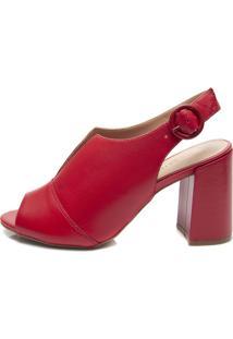 Sandália Ankle Boot Pattini Em Couro Vermelho
