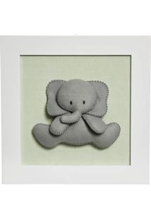 Quadro Decorativo Elefante Quarto Bebê Infantil Menina Menino Potinho De Mel Verde