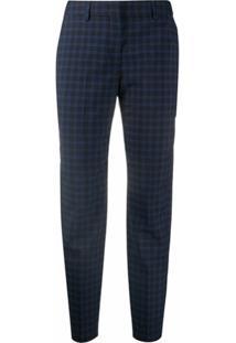 Ps Paul Smith Calça De Alfaiataria Com Estampa Xadrez - Azul