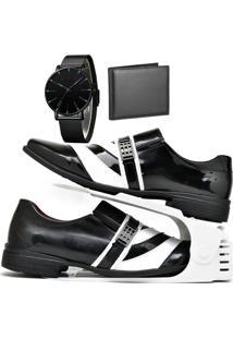 Kit Sapato Social Verniz Com Organizador, Carteira E Relógio Slim Dubuy 632Db Branco - Kanui