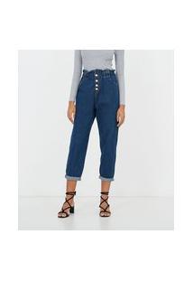 Calça Jeans Clochard Com Botões De Pérola | A-Collection | Azul | 42