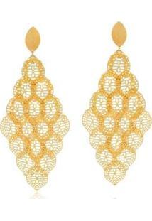 Brinco Le Diamond Cascata Folhas Trabalhadas - Feminino-Dourado