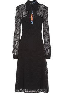Prada Vestido Guipure Com Renda Floral - Preto