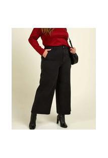 Calça Plus Size Feminina Pantacourt Wide Leg Sarja