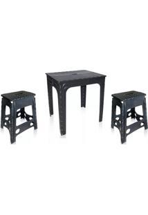 Conjunto Mesa 2 Cadeira Dobrável Preto Antares