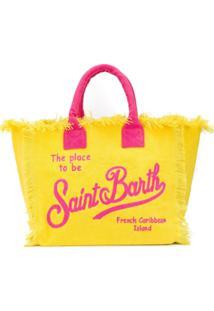 Mc2 Saint Barth Bolsa De Praia De Canvas Com Estampa De Logo - Amarelo