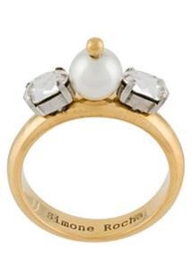 Simone Rocha Glass Pearl And Crystal Ring - Dourado