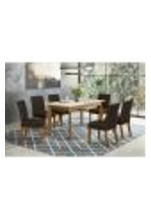 Conjunto Mesa Ghala 160Cm + 6 Cadeiras Maris - Marrom