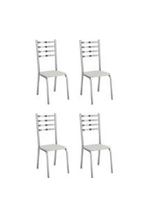 Conjunto 4 Cadeiras Estofadas Crome 4C086 Alemanha Cromado