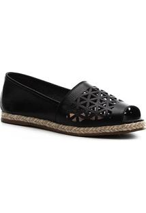 Sapatilha Shoestock Couro Laser Corda - Feminino-Preto