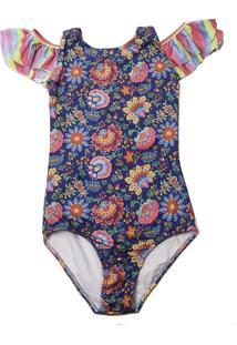 Maiô Infantil Babado Ombro Cuba Proteção Uv Spring Blossom - Banho Maria