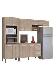 Cozinha Compacta Ametista Com Balcáo 10 Portas Composiçáo 7 Nogal - Kit'S Paraná