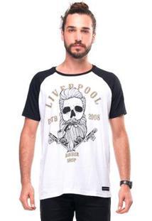 Camiseta Raglan Skull Barber Liverpool Masculina - Masculino-Branco