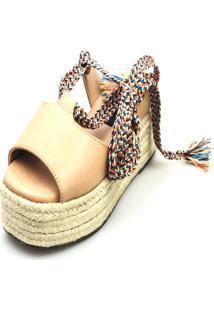 Anabela Espadrille Love Shoes Corda Amarrar Cadarço Nude