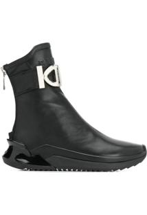 Balmain Logo Plaque Ankle Boots - Preto
