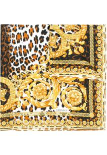 Versace Lenço Estampado De Seda - Amarelo