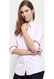 Camisa Tommy Hilfiger Essencial Frederica Feminina - Feminino-Branco+Rosa