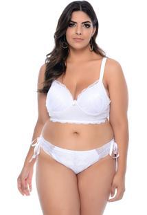 Conjunto Vislumbre Lingerie Plus Size Branco Sensuale-56