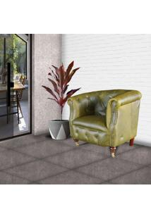 Poltrona Decorativa Para Sala De Estar Libéria Couro Verde - Gran Belo