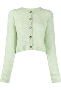 Acne Studios Cardigan Cropped Com Decote Careca - Verde