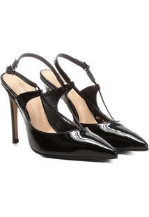 Scarpin Shoestock Salto Alto Tiras - Feminino-Preto