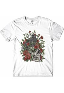 Camiseta Long Beach Caveira S Corvo Sublimada Masculina - Masculino-Branco