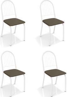 Conjunto Com 4 Cadeiras De Cozinha Noruega Branco E Marrom