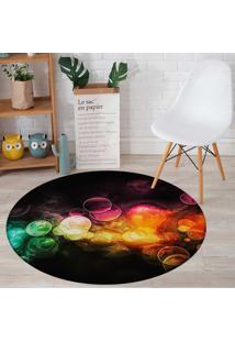 Tapete Redondo Wevans Abstrato Bubbles Multicolorido 94Cm - Preto - Dafiti