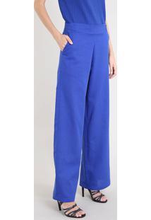 Calça Pantalona Feminina Mindset Com Linho E Martingale Azul Royal
