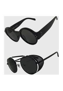 Kit 2 Oculos De Sol Feminino Volpz Alok E Londres Preto