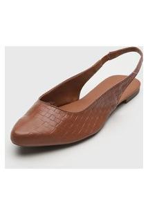 Sapatilha Dafiti Shoes Bico Fino Tressê Caramelo